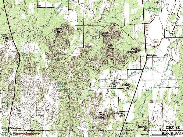 Zip code 76953 topographic map