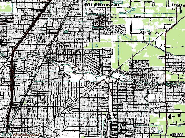 Zip code 77016 topographic map