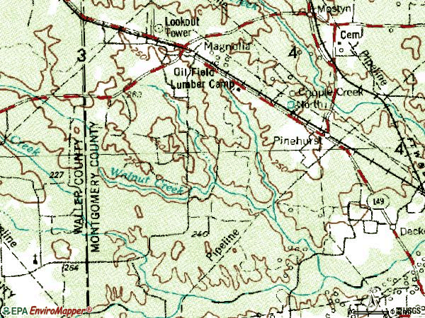 Zip code 77355 topographic map