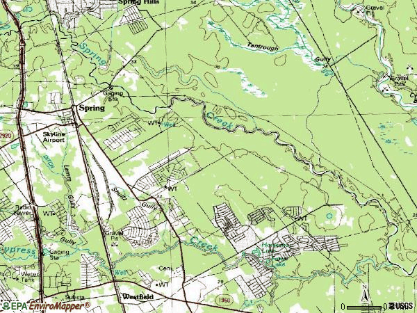 Zip code 77373 topographic map