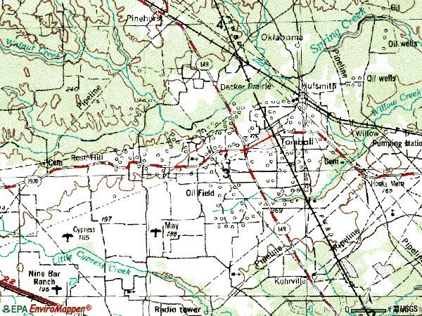 Zip code 77375 topographic map