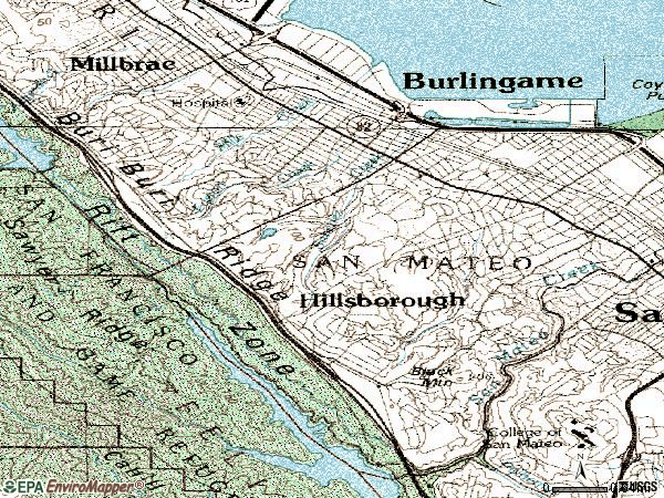 Zip code 94010 topographic map
