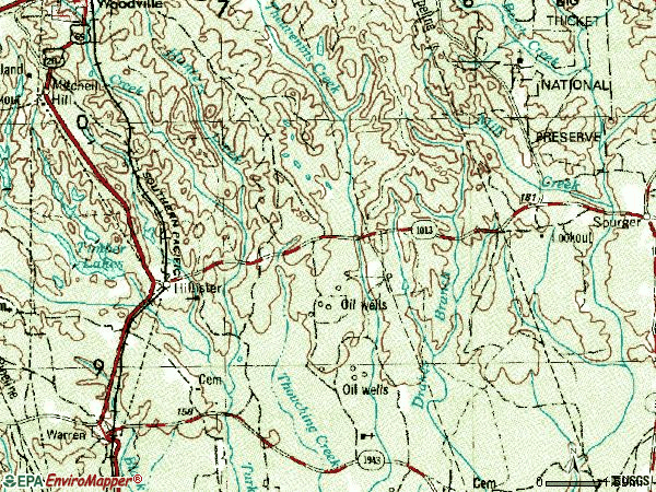 Zip code 77624 topographic map