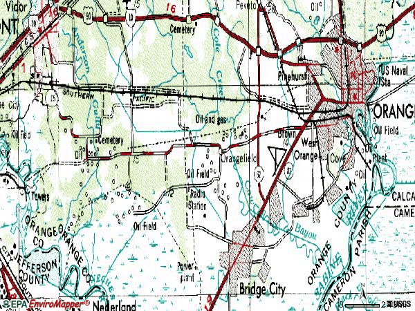 Zip code 77630 topographic map