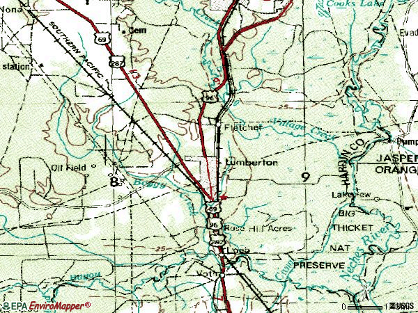 Zip code 77657 topographic map