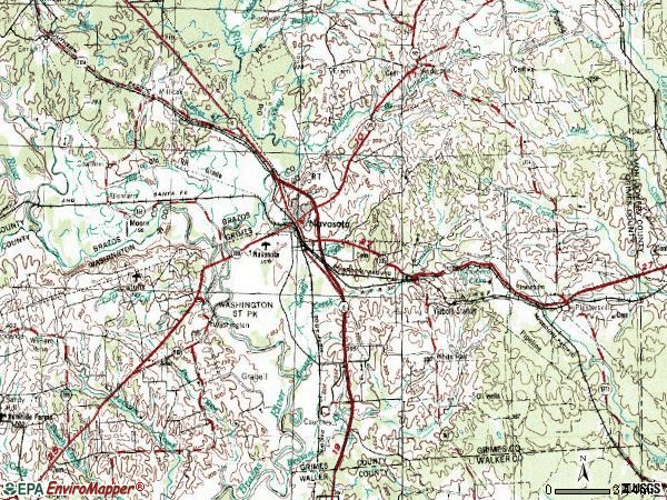 Zip code 77868 topographic map