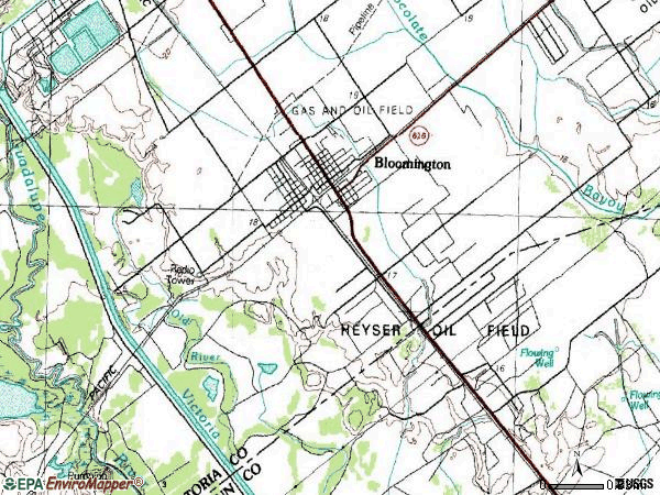 Zip code 77951 topographic map