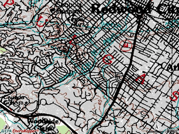 Zip code 94061 topographic map