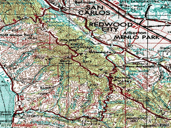 Zip code 94062 topographic map