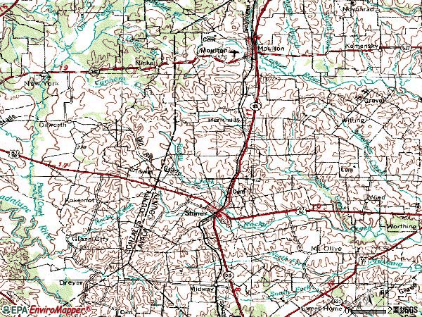 Zip code 77984 topographic map