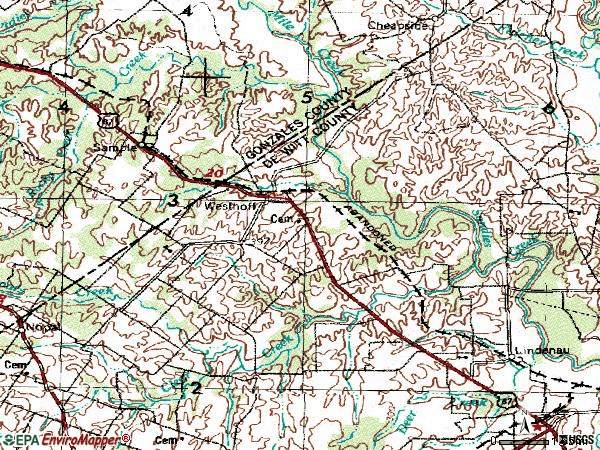 Zip code 77994 topographic map