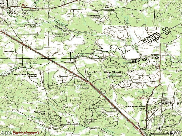 Zip code 78015 topographic map