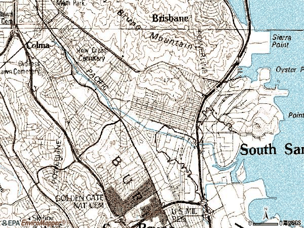 Zip code 94080 topographic map