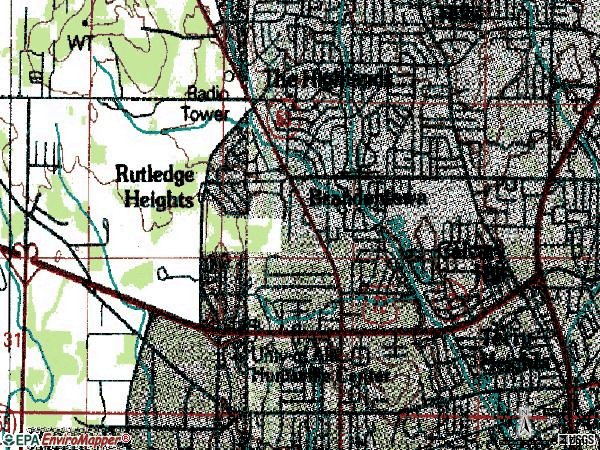Zip code 35816 topographic map