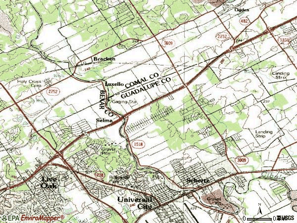 Zip code 78154 topographic map