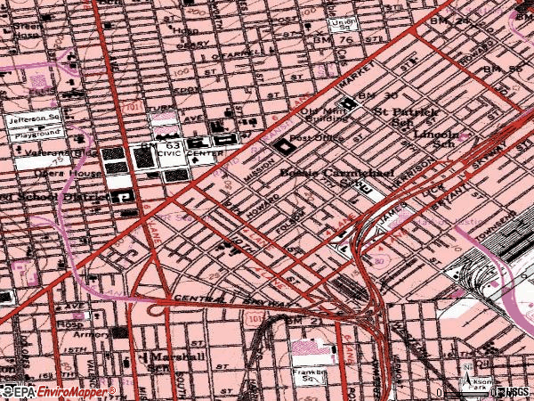 Zip code 94103 topographic map
