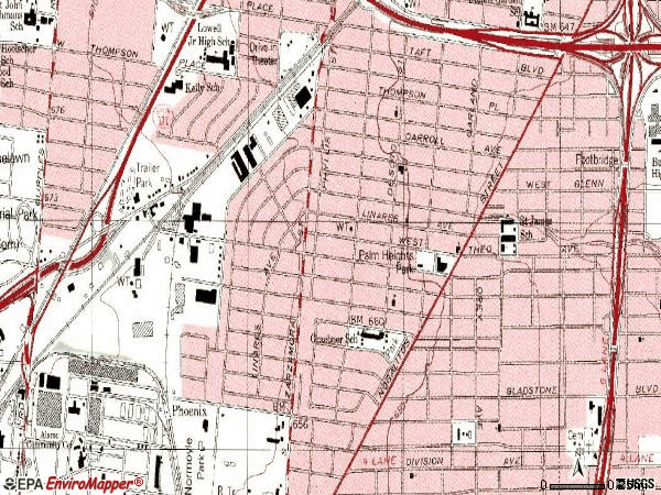 Zip code 78225 topographic map
