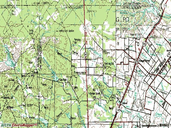 Zip code 78372 topographic map