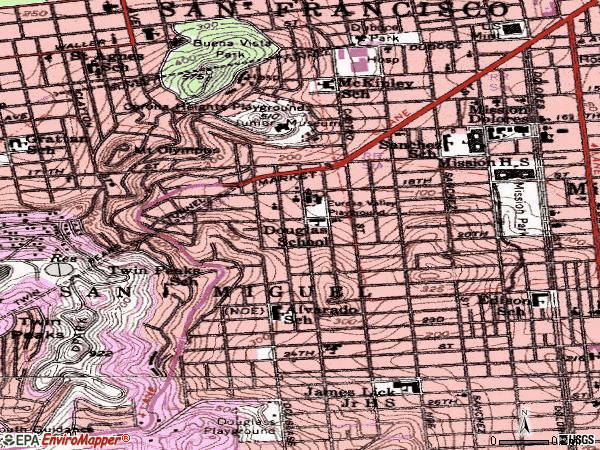 Zip code 94114 topographic map