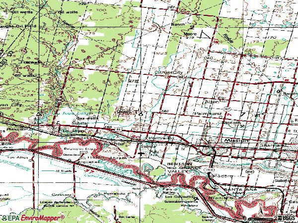 Zip code 78572 topographic map