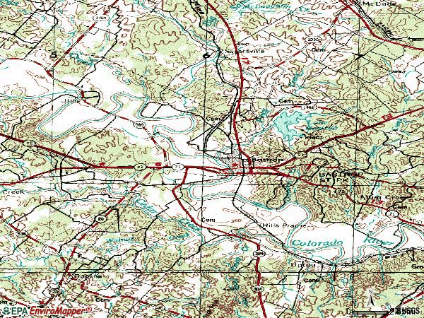 Zip code 78602 topographic map