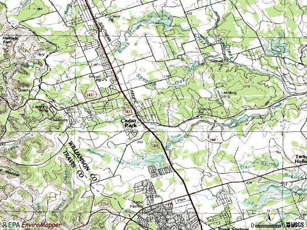 Zip code 78613 topographic map