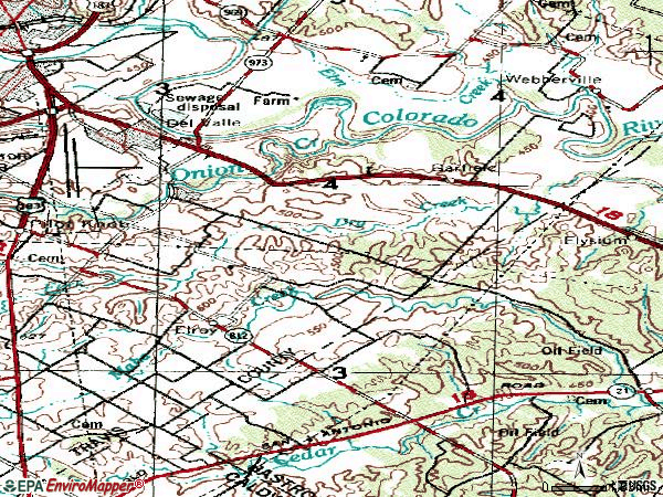 Zip code 78617 topographic map