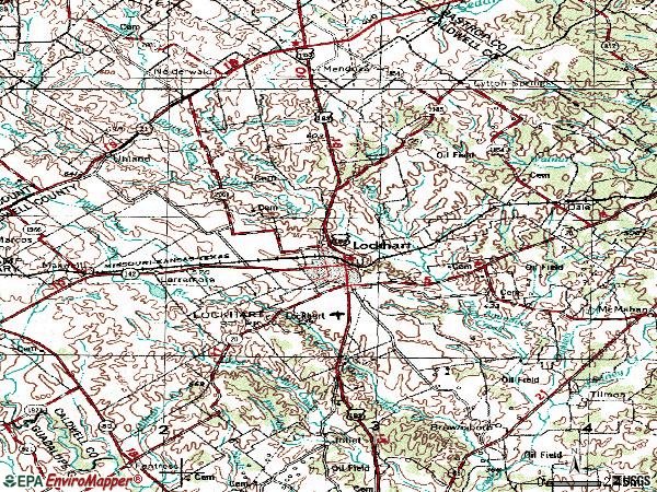 Zip code 78644 topographic map