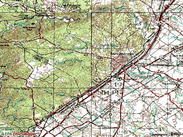 Zip code 78666 topographic map