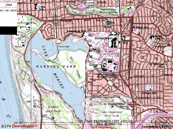 Zip code 94132 topographic map