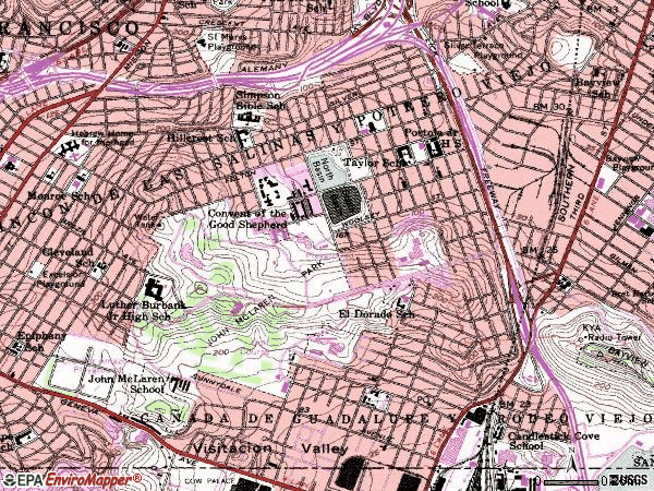 Zip code 94134 topographic map