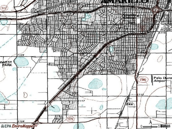 Zip code 79109 topographic map