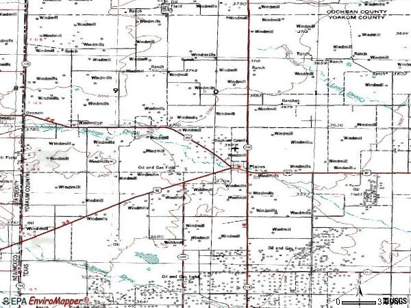 Zip code 79355 topographic map