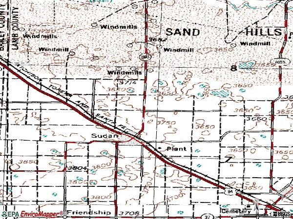 Zip code 79371 topographic map