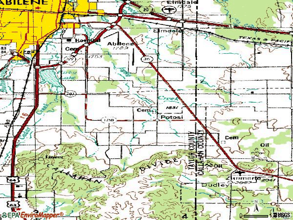 Zip code 79602 topographic map