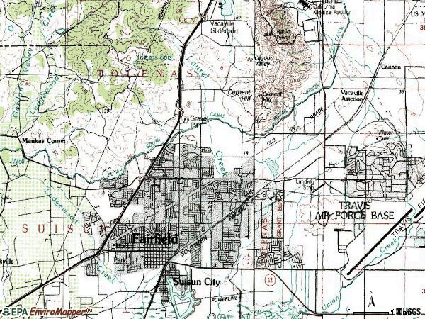 Zip code 94533 topographic map