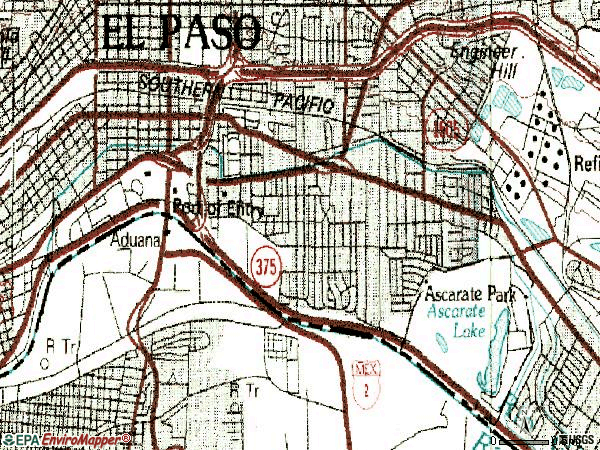 Zip code 79905 topographic map