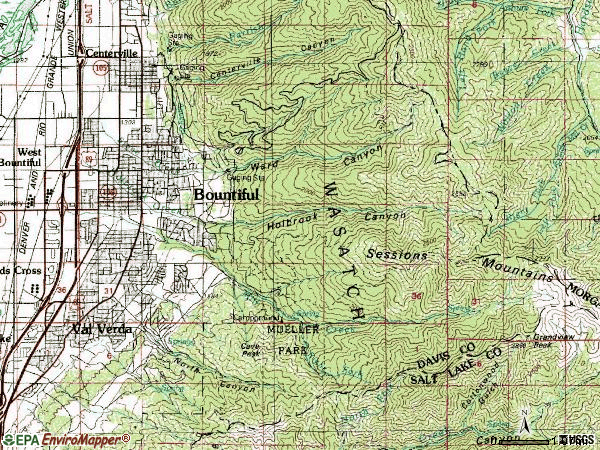 Zip code 84010 topographic map