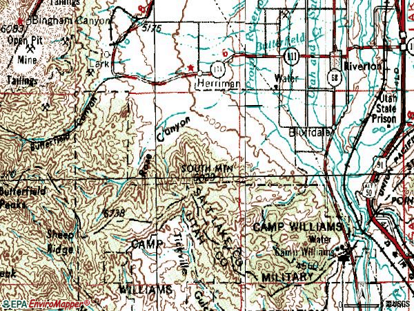 Zip code 84065 topographic map
