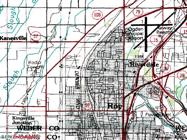Zip code 84067 topographic map