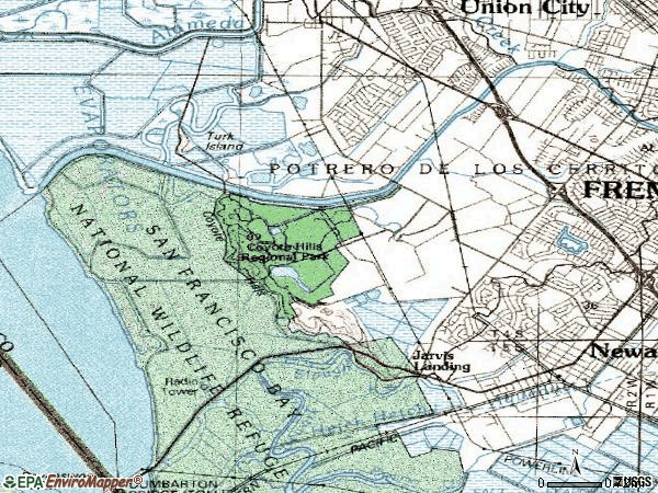 Zip code 94555 topographic map