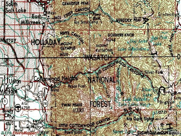 Zip code 84121 topographic map