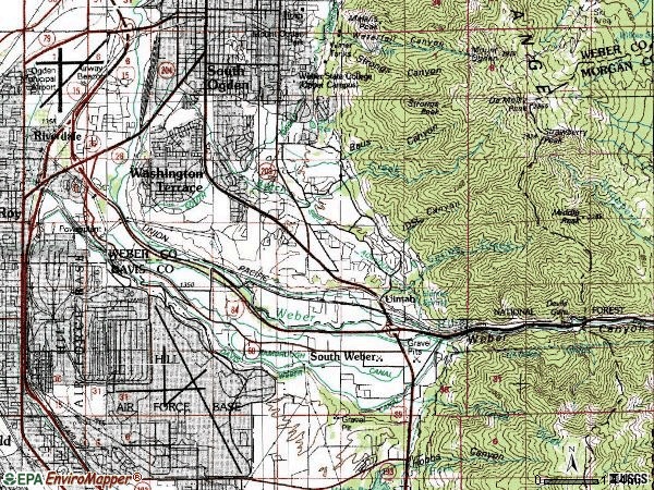 Zip code 84405 topographic map