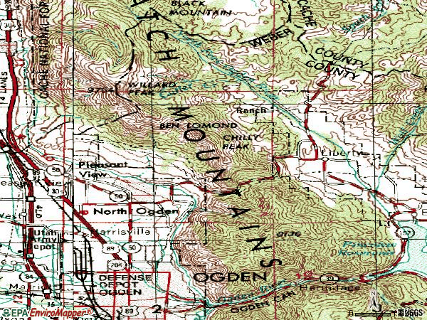 Zip code 84414 topographic map