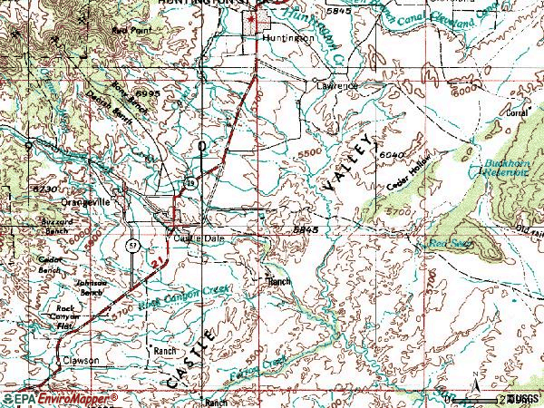 Zip code 84513 topographic map