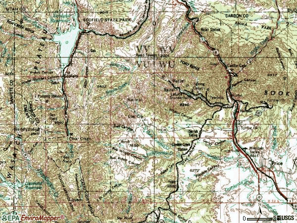 Zip code 84526 topographic map
