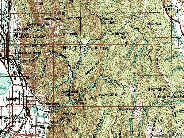 Zip code 84663 topographic map