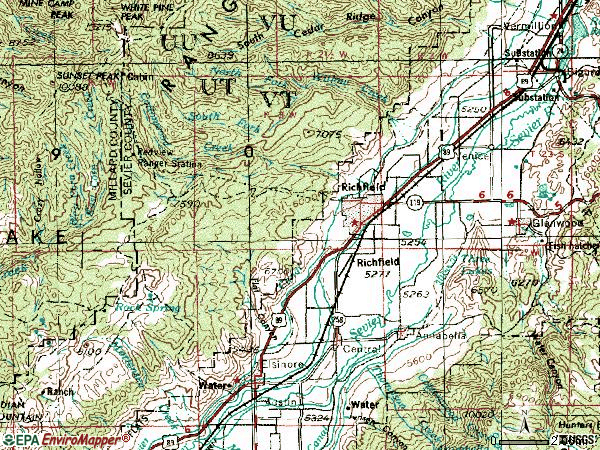 Zip code 84701 topographic map