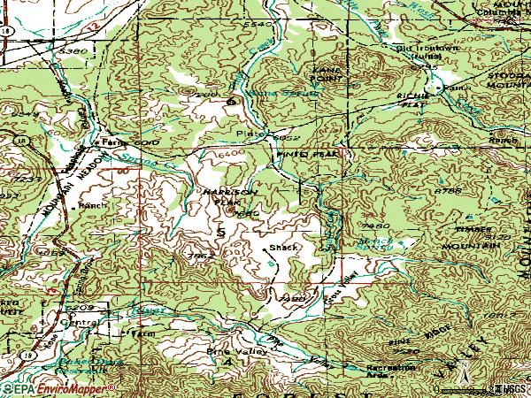 Zip code 84722 topographic map
