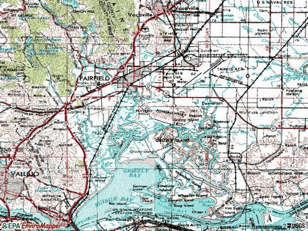 Zip code 94585 topographic map